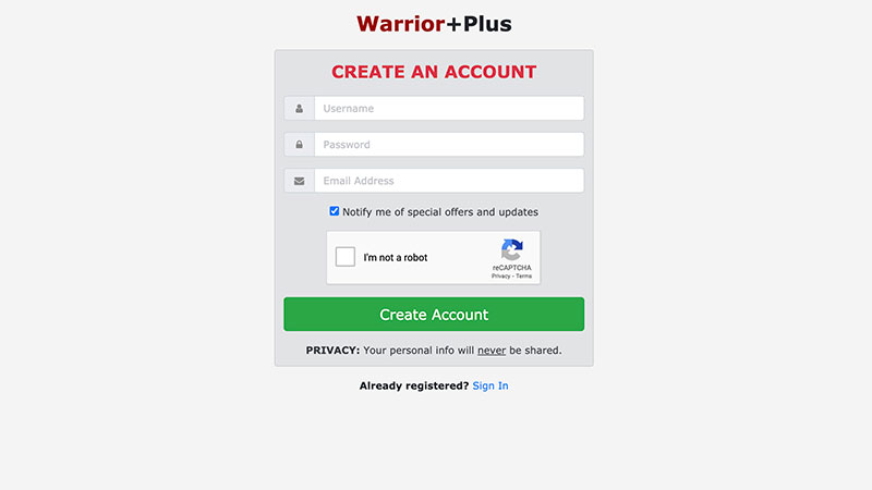 WarriorPlus Signup Page